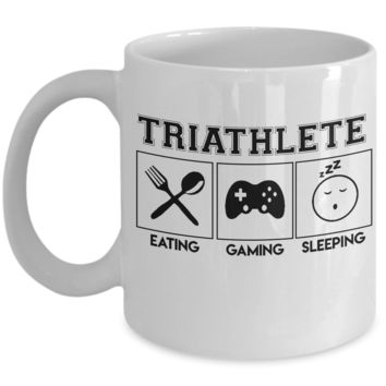 Triathlete Eating Gaming Sleeping Coffee Mug, Holiday and Birthday Gifts For Gamers, 11oz