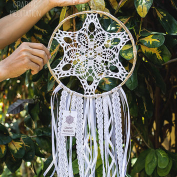 "Dream catcher with white doily 10"" - Crochet bohemian wedding decor with handmade lace - Unique Christmas gift"