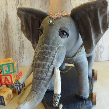 Elephant pull toy: vintage look, soft sculpture, artist bear toy. A perfect decoration for a nursery, child's room or a corner in your home!