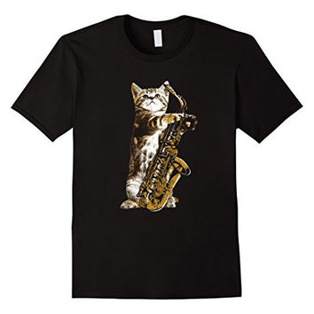 Jazz Cat T-shirt Cool Musician Jazz Player Saxophone