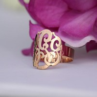 Personalized Initials Ring Sterling Silver w/Rose Gold Overlay