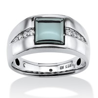 Men's .30 TCW White Sapphire and Square-cut Hematite Ring in Platinum over Sterling Silver