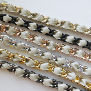 SALE Champagne Leather Weaved Chain Bracelet - Choose your style