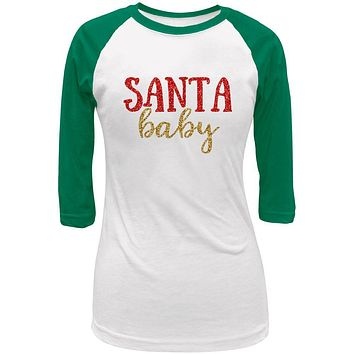 Christmas Santa Baby Juniors 3/4 Raglan T Shirt