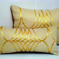 Sparkly gold – Glimmer lumbar satin throw pillow 12x16