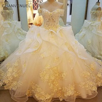 LS00028 Gorgeous champage bridal gown with 3D flowers short sleeves ball gown lace wedding dress vestidos de noivas real photos