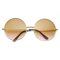 Womens Large Oversized Color Tinted Metal Circle Round Sunglasses