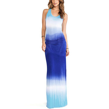 Blue Dyed Asymmetrical Maxi  Dress