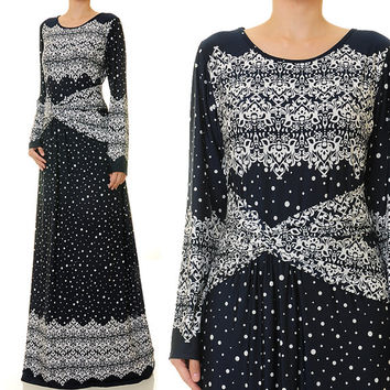 Drop Waist Abaya, Ethnic Print Long Sleeve Maxi Dress, Jersey Dress - Size M/L or 1X/2X (6153 / 2767)