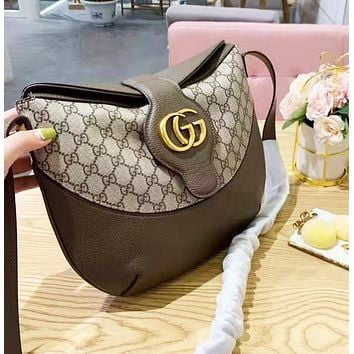 GUCCI classic wild GG logo canvas leather ladies diagonal shoulder bag