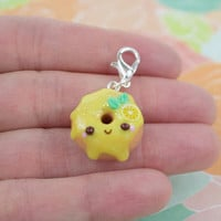 Kawaii Lemon Donut Charm | Cute Polymer Clay Jewelry Accessory | Handmade Gift | Miniature Sweet Food