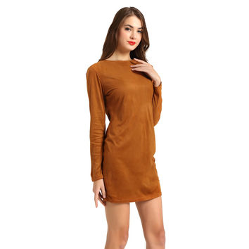 T-Inside 2016 New Spring Women Dress Warm Cashmere Long Sleeve Solid Vintage Daily Wear Winter Sheath Dress Plus Size  WH003
