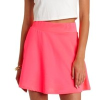 Neon High-Waisted Skater Skirt by Charlotte Russe - Hot Pink