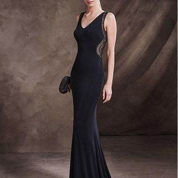 [138.99] Delicate Chiffon V-Neck Neckline Mermaid Evening Dresses With Beadings - dressilyme.com