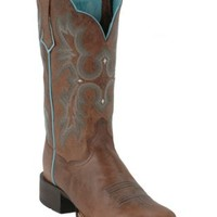 AriatTombstone Ladies Sassy Brown w/Turquoise Stitch Double Welt Square Toe Boot