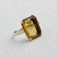 Antique Sterling Silver Citrine Yellow Ring - Art Deco 1930s Size 7 Emerald Cut Jewelry / Glass Center