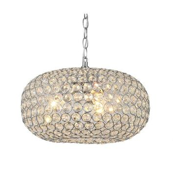 Campbell Oval Crystal Chrome Pendant Chandelier