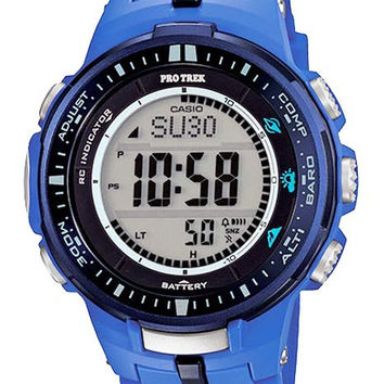 Casio ProTrek Mens Version 3 Triple Sensor Solar Atomic - Blue Resin Band