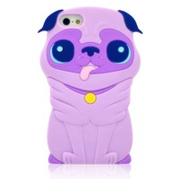 FLG 3D Cute Cartoon Shar Pei Dog Soft Silicone Case Cover Compatible for Apple Iphone 4/4g/4S(Light Purple)