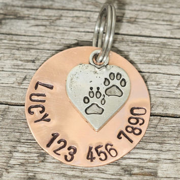 "Custom Pet Tag - 1"" Layered Copper Tag with Heart Charm - Hand Stamped Pet ID Tag"