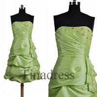Custom Moss Green Short Beaded Prom Dresses Bridesmaid Dresses 2014 Fashion Party Dress Evening Gowns Cocktail Dress Homecoming Dress
