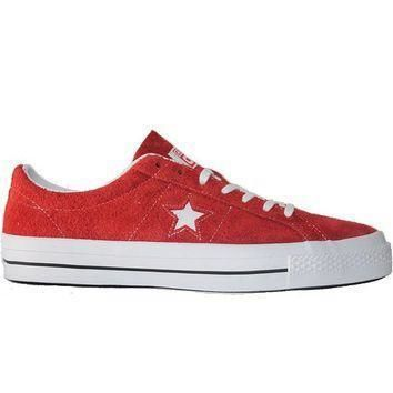 converse one star ox red white suede oxford sneaker