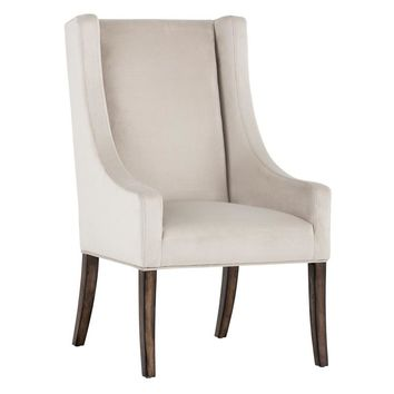 ANDY PIMLICO PROSECCO FABRIC WITH SMOKED BROWN ACACIA WOOD LEGS DINING CHAIR