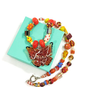 Chunky Butterfly Pendant Necklace, Murano Glass & Lampwork Beads, Orange Yellow Blue, Insect Jewelry, Vintage Summer Statement Jewelry