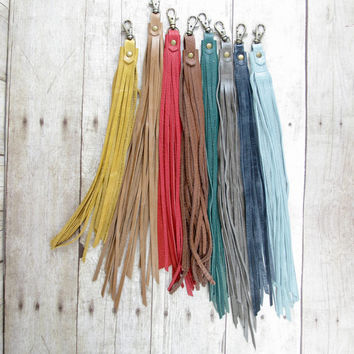 Leather Bag Charm, Leather Fringe, Bag Clip, Long Fringe Tassel, Leather Bag Tassel