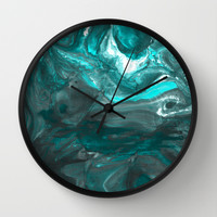 Dark Clouds Gathering - Teal & Grey Marbling Wall Clock by TigaTiga Artworks