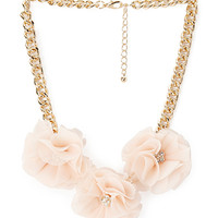 FOREVER 21 Blooming Chiffon Necklace Peach/Gold One