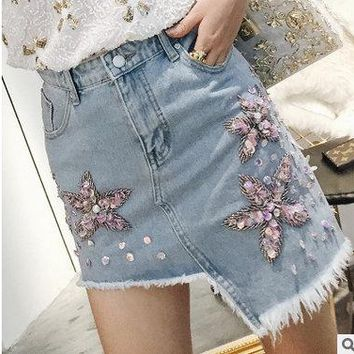 2017 New Casual Women Summer Denim Jeans Skirt Ladies Long Jean girl Skirts fashion lady skirts