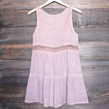 Final Sale - Boho Acid Wash Flowy Tunic Dress with Crochet Inset in Pink
