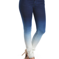 Premium Blue Denim Skinny Ombre Jeans extra Acid Wash