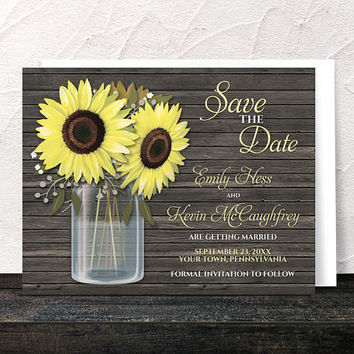 Sunflower Save the Date Cards - Rustic Sunflower Wood Mason Jar Save the Date - Printed Flat Cards
