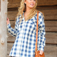 Over-sized Plaid Shirt in Blue