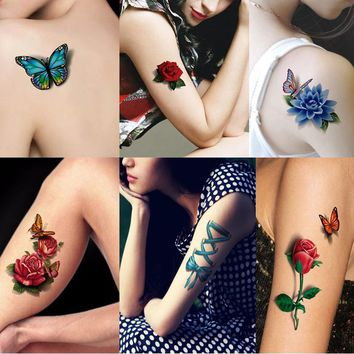 1Pcs Flower Waterproof Tattoo for Girls Temporary Tattoos Rose Tatouage Transfer Stickers Henna Tattoos On The Body Art Makeup