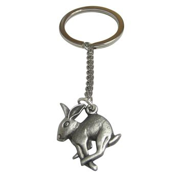 Silver Toned Textured Leaping Rabbit Pendant Keychain