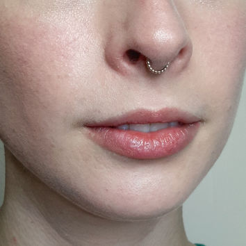 Beaded Gold Septum Ring - septum jewelry, nickel free fine silver, gold nose ring, helix ring, small septum ring