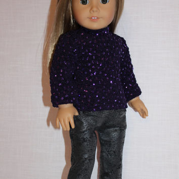 18 inch doll clothes, sparkle doll shirt, Christmas doll shirt , leather look grey jeggings, american girl, maplelea