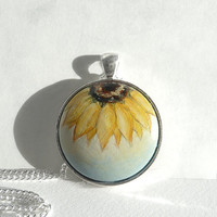 Original Art Necklace, Sunflower Pendant Necklace, Hand Painted Jewelry, Bezel Necklace, Charm, Half Sunflower With Blue Sky by Artdora