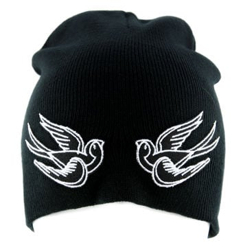White Swallow Sparrow Birds Beanie Alternative Clothing Knit Cap Rockabilly Tattoo Ink