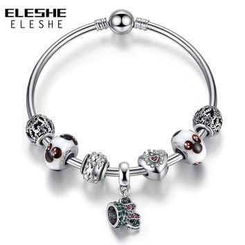 ELESHE Silver Strand Bracelet Lovely Minnie Pendant Bracelets Bangle Jewelry DIY Murano Glass Beads Charm Bracelet for Women