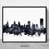 Buffalo Print, Buffalo Skyline, Buffalo New York, Office Decor, Office Art, Watercolor Skyline, Watercolor City Posters, ArtPrintZone
