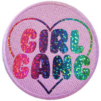 Rainbow Sparkle Lilac Girl Gang Vinyl Print Iron On Patch Embroidery DIY Holographic Iridescent Glitter Punk Feminist Riot Grrrl Feminism