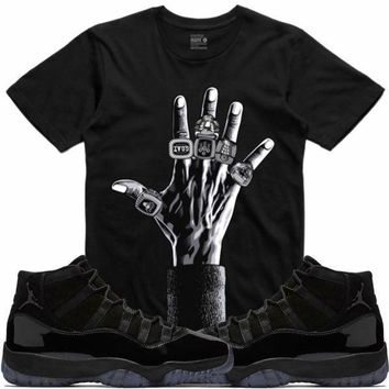 Air Jordan 11 Cap Gown Sneaker Tees Shirt - 6 RINGS RK