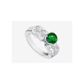 DCCKU7Q Emerald 2 Ct. Engagement Ring in 14K White Gold side Cubic Zirconia  with TGW 3.20 carats