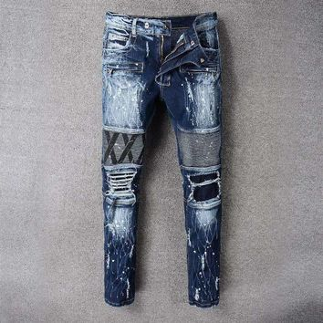 France Style #8807# Mens Distressed Embellished Ribbed Stretch Moto Pants Biker Jeans Slim Trousers Size 28-42