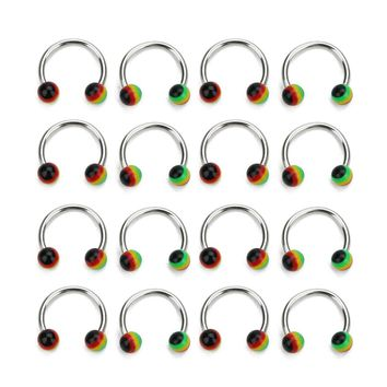 New 10pcs/lot 11mm Mixed Color Nose Rings Studs Piercing Stainless Steel Resin Ball Nostril Piercing Lips Rings Body Jewelry
