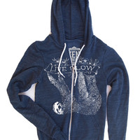 Unisex Tree SLOTH 2 Tri-Blend Zip Hoody - American Apparel XS S M L XL (3 Color Options)